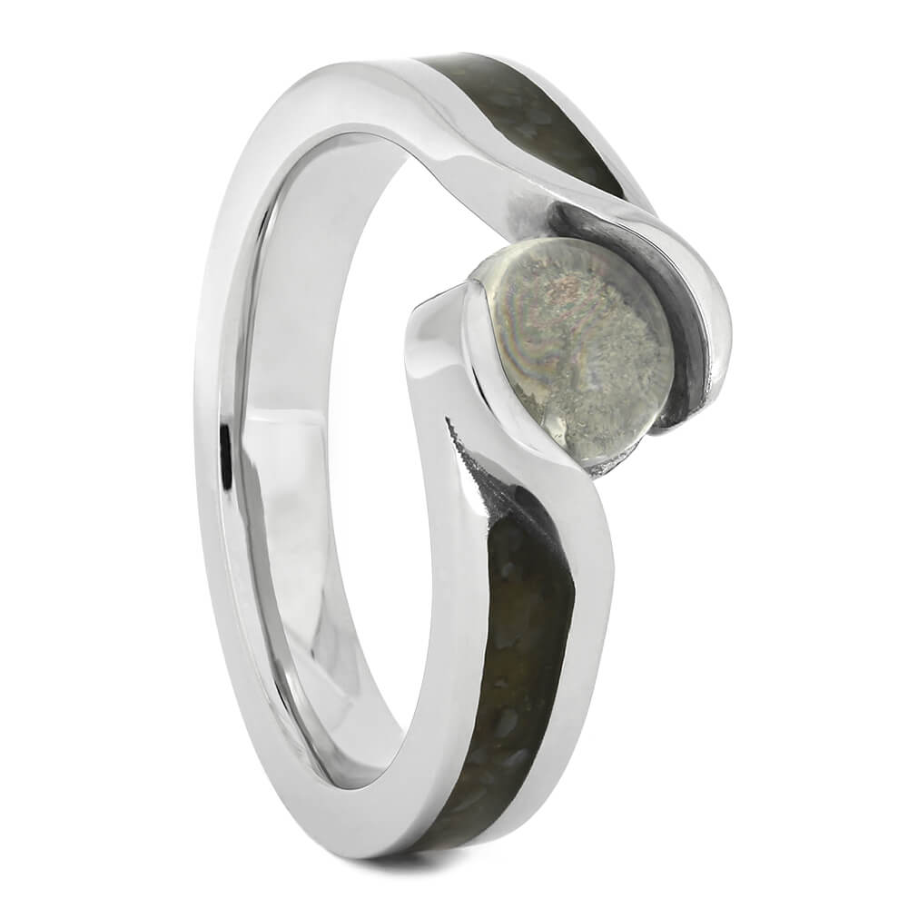 Moonstone Engagement Ring with Crushed Dinosaur Bone, Size 5.75-RS10791 - Jewelry by Johan