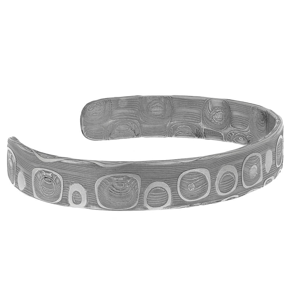 Damascus Cuff Bracelet in Stainless Steel-RS10796 - Jewelry by Johan
