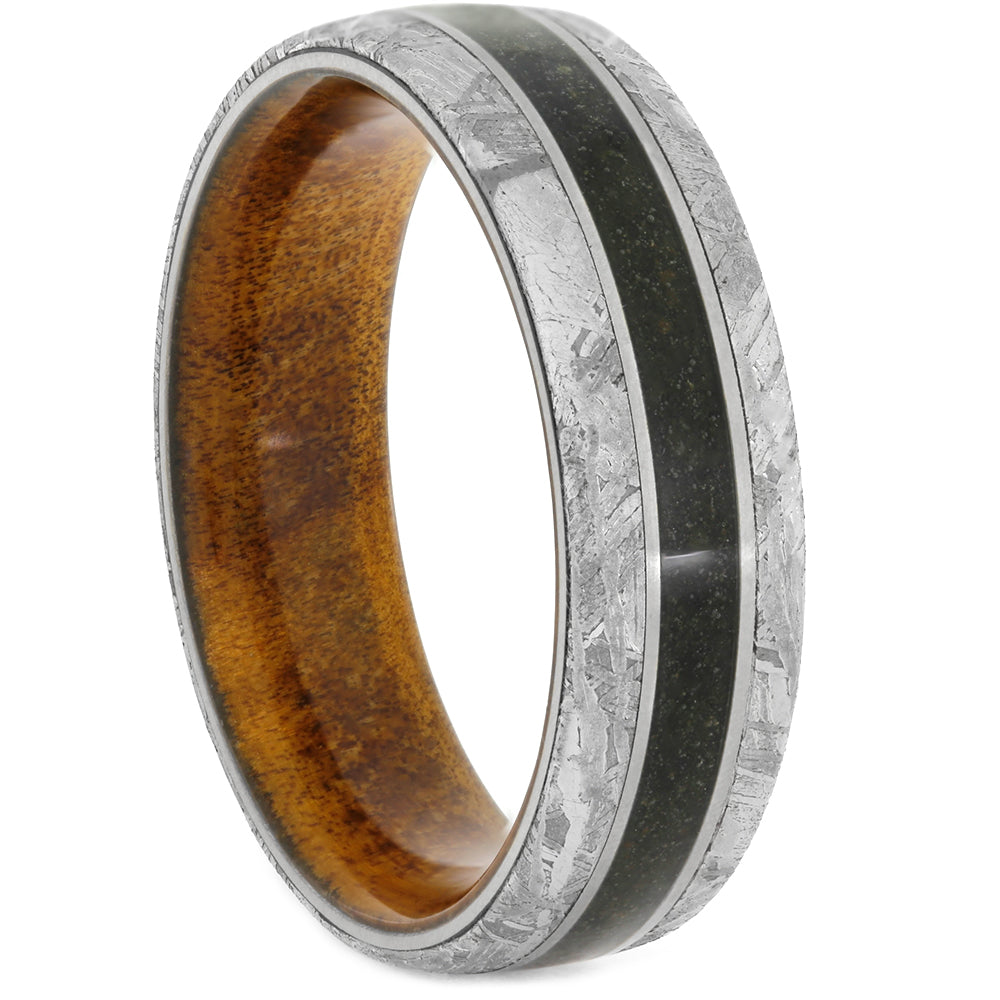 Men's Meteorite Ring With Dino Bone And Wood Sleeve, Size 13.5-RS10800 - Jewelry by Johan