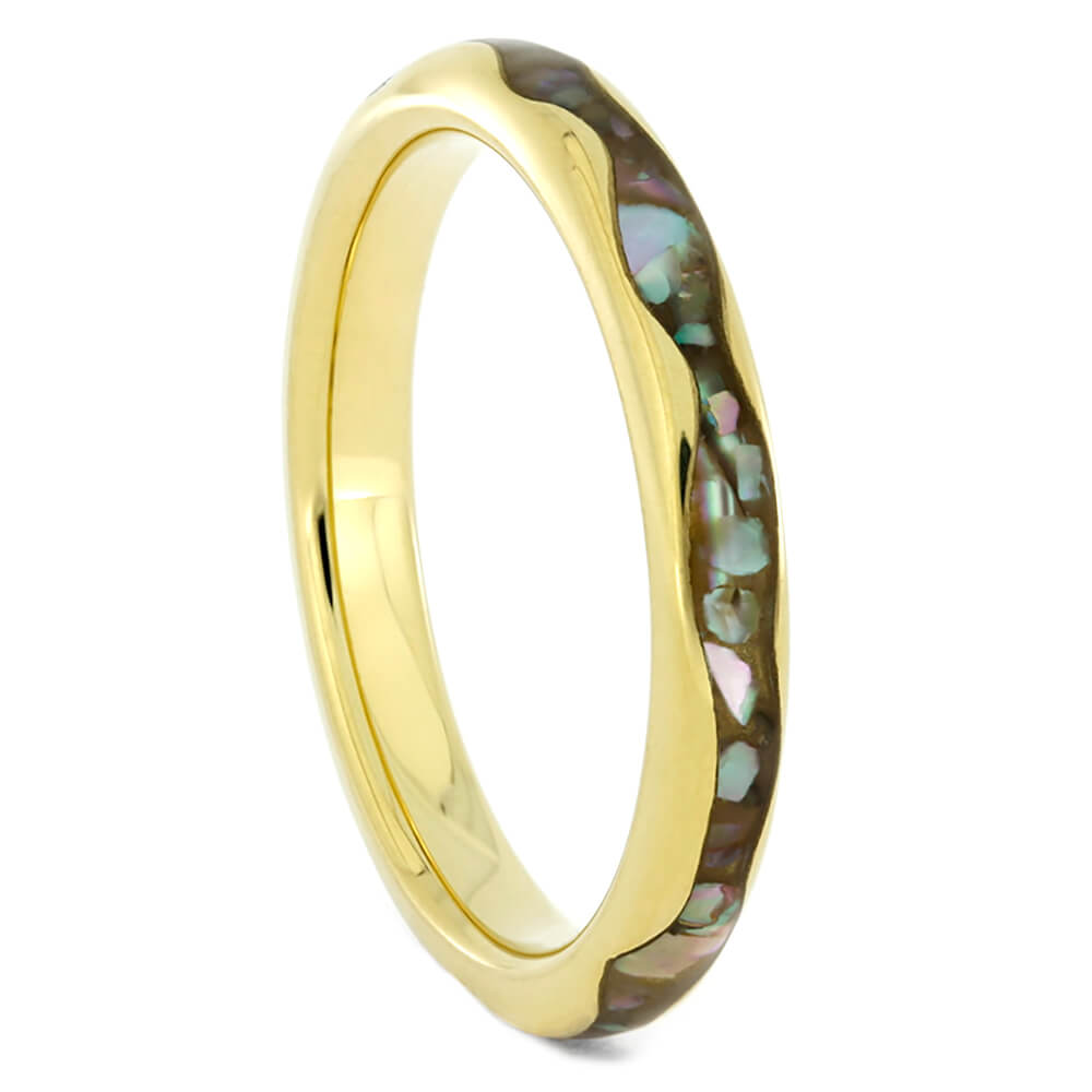 Thin Wavy Women's Wedding band with Abalone