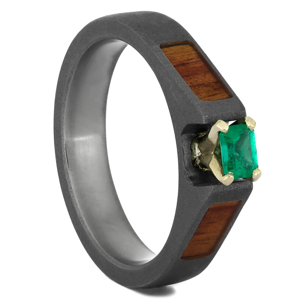 Emerald Engagement Ring with Sandblasted Titanium and Wood