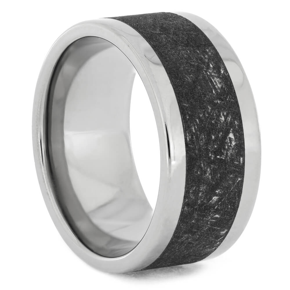 Wide Mimetic Meteorite Ring With Titanium, Size 8.25-RS10812 - Jewelry by Johan