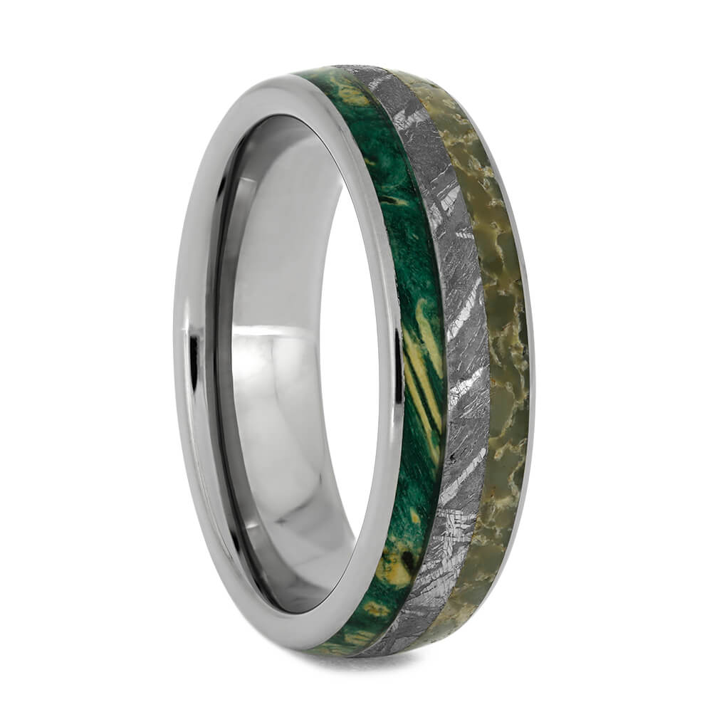 Meteorite Wedding Ring With Green Wood And Dinosaur Bone, Size 11.5-RS10814 - Jewelry by Johan