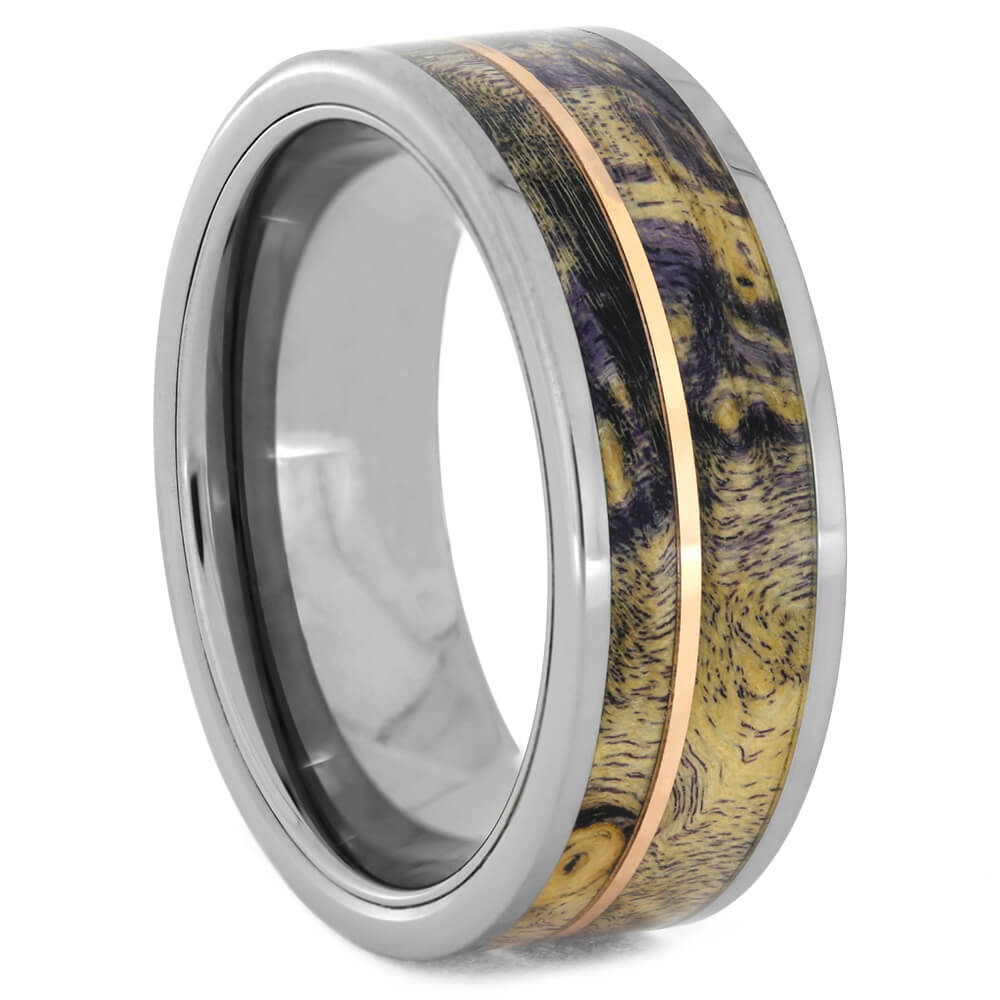 Purple Burl Wood Ring with Tungsten Sleeve
