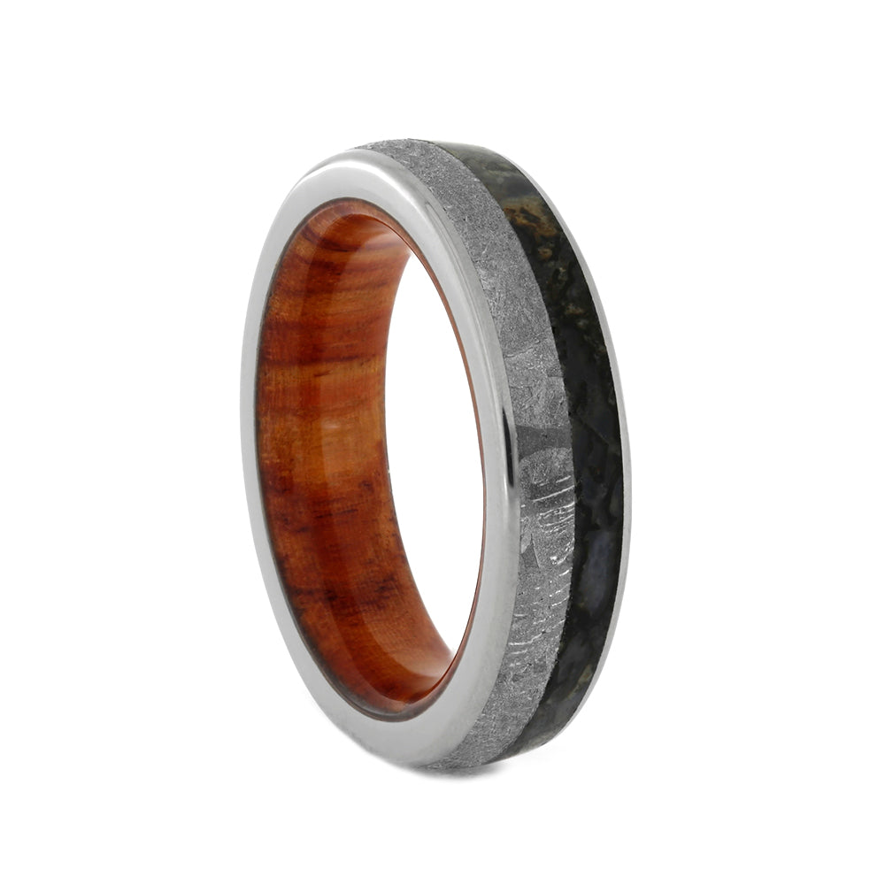 Meteorite And Dinosaur Bone Ring With Tulipwood Sleeve