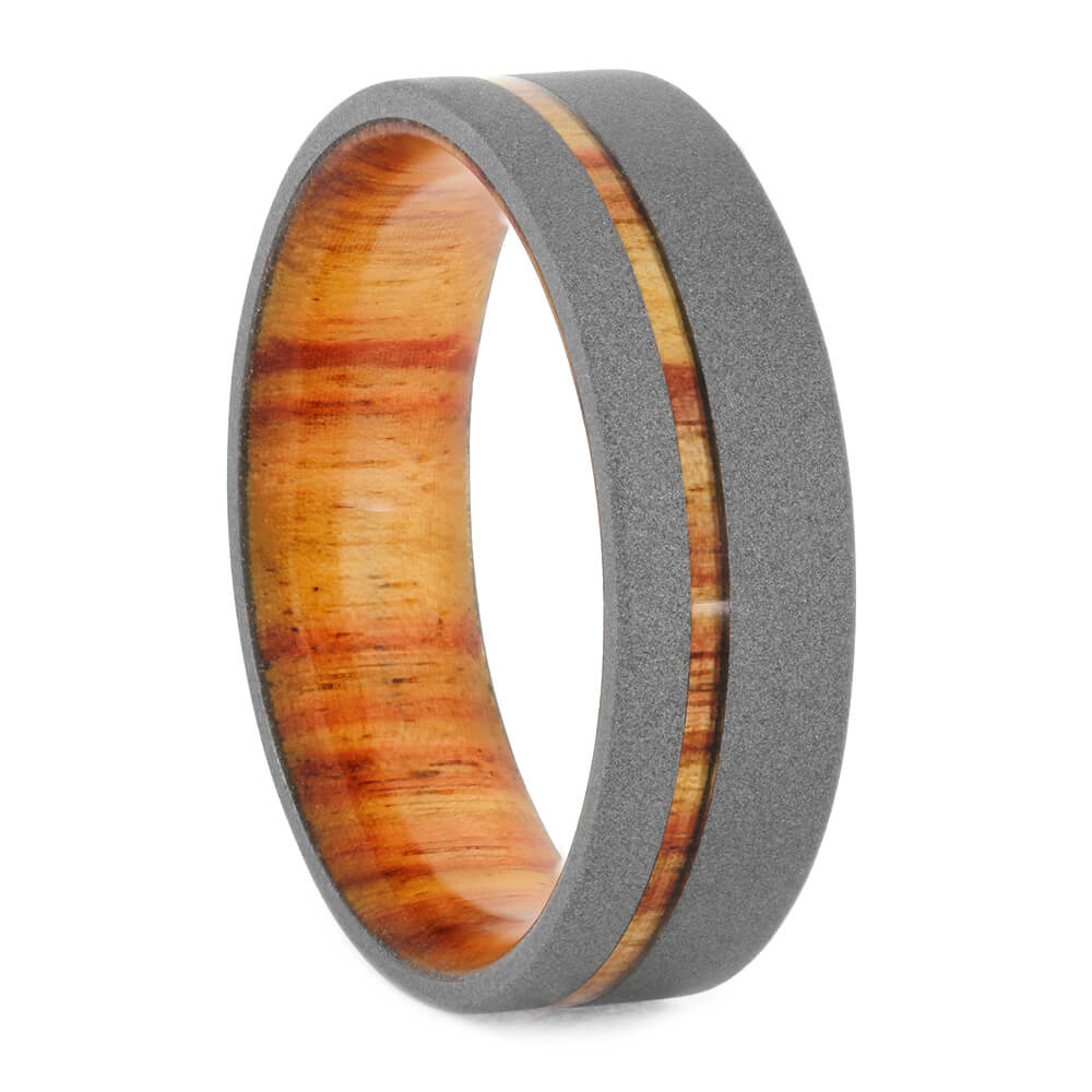 Sandblasted Titanium Wedding Band With Tulipwood Sleeve, Size 11.5-RS10820 - Jewelry by Johan