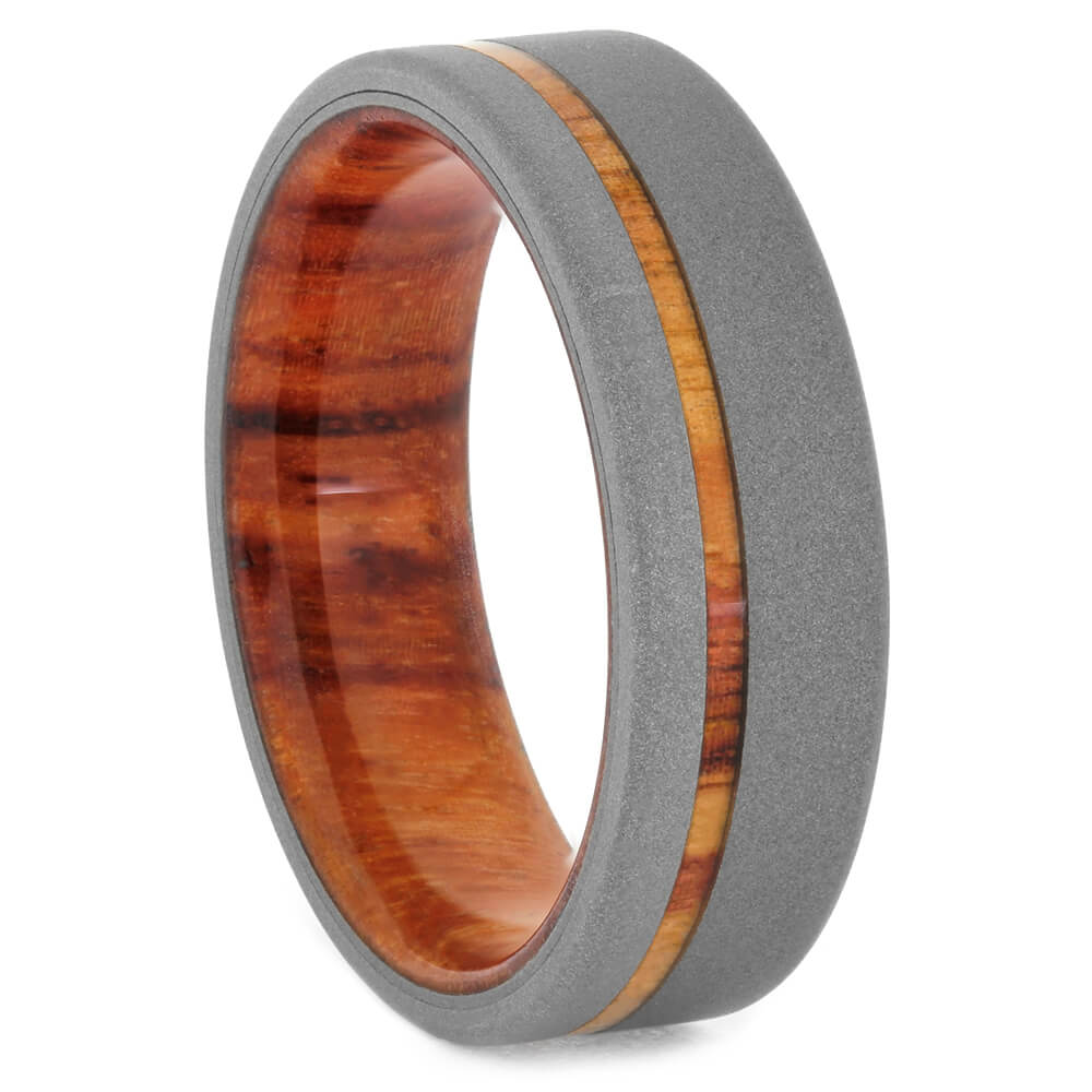 Tulipwood Wedding Band with Sandblasted Titanium Edges