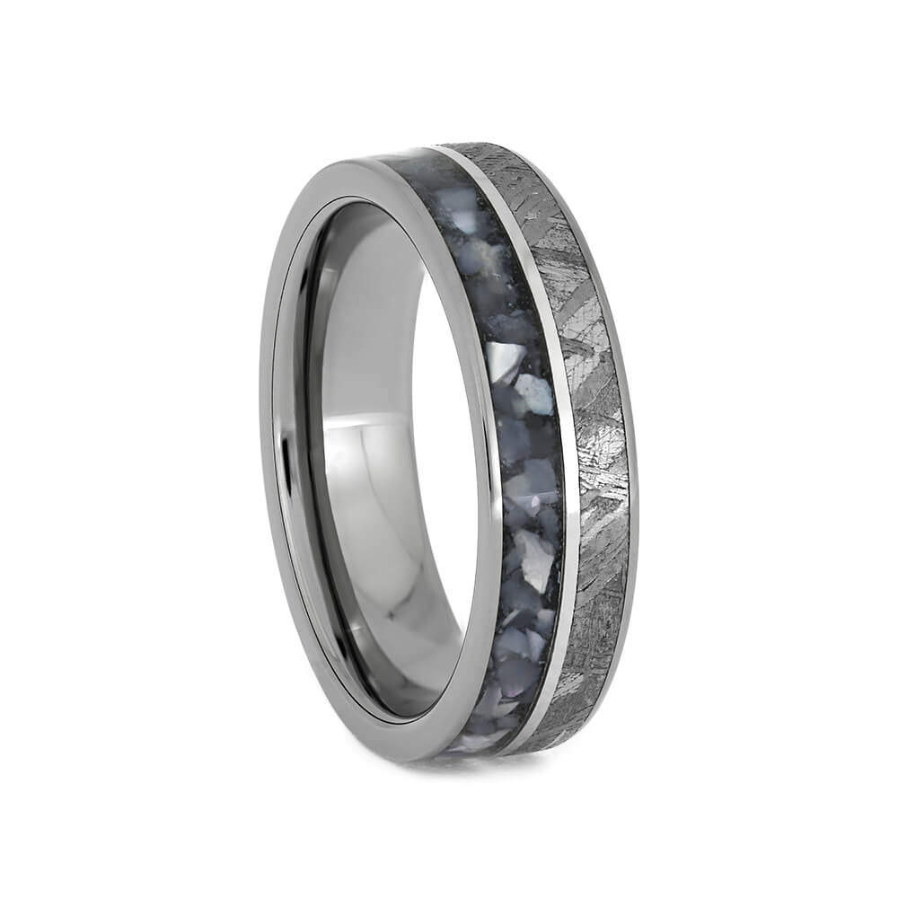 Thin Men's Wedding Band With Crushed Pearl and Meteorite, Size 8-RS10824 - Jewelry by Johan