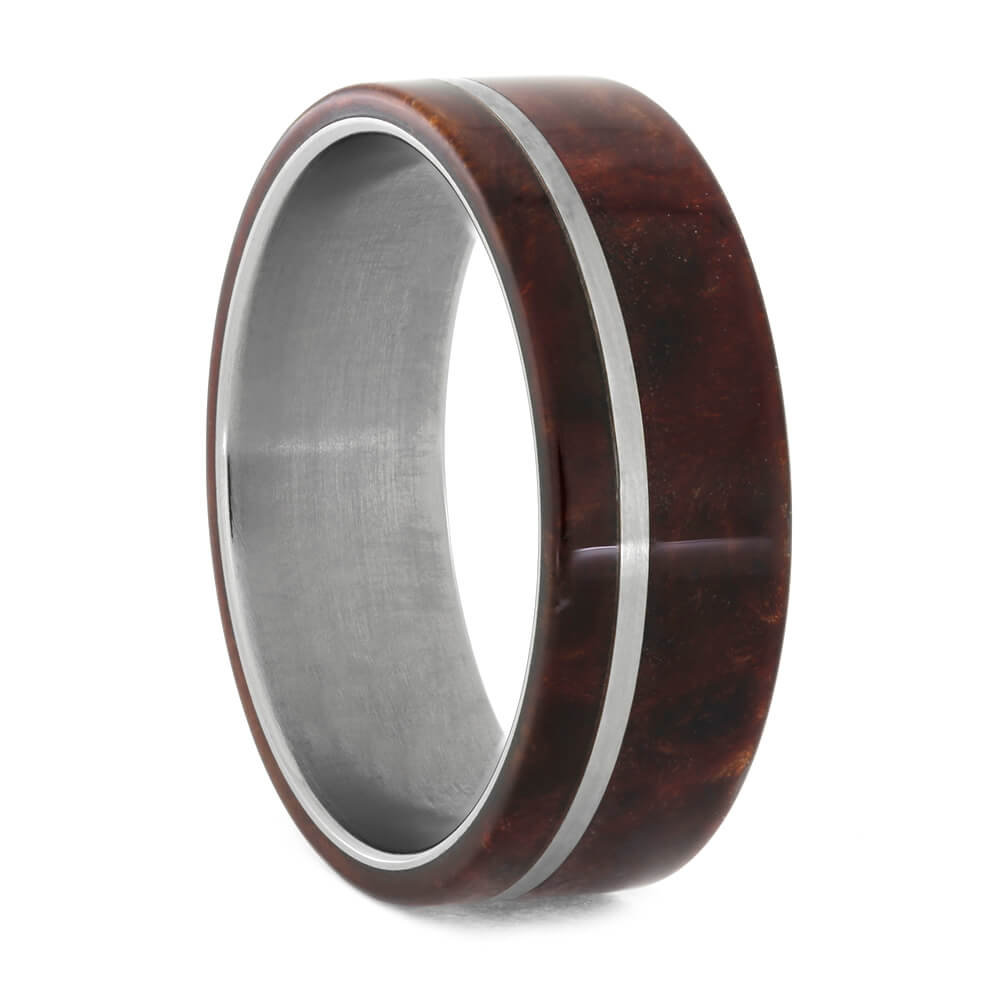 Redwood Burl Men's Wedding Band in Titanium, Size 11.25-RS10828 - Jewelry by Johan