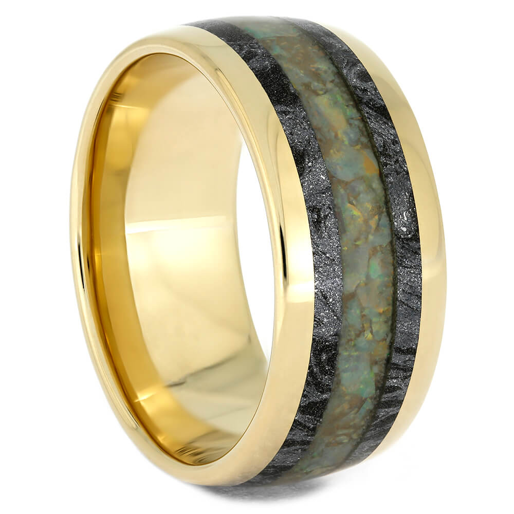 Yellow Gold Wedding Band With Opal and Mokume Gane, Size 8.5-RS10830 - Jewelry by Johan