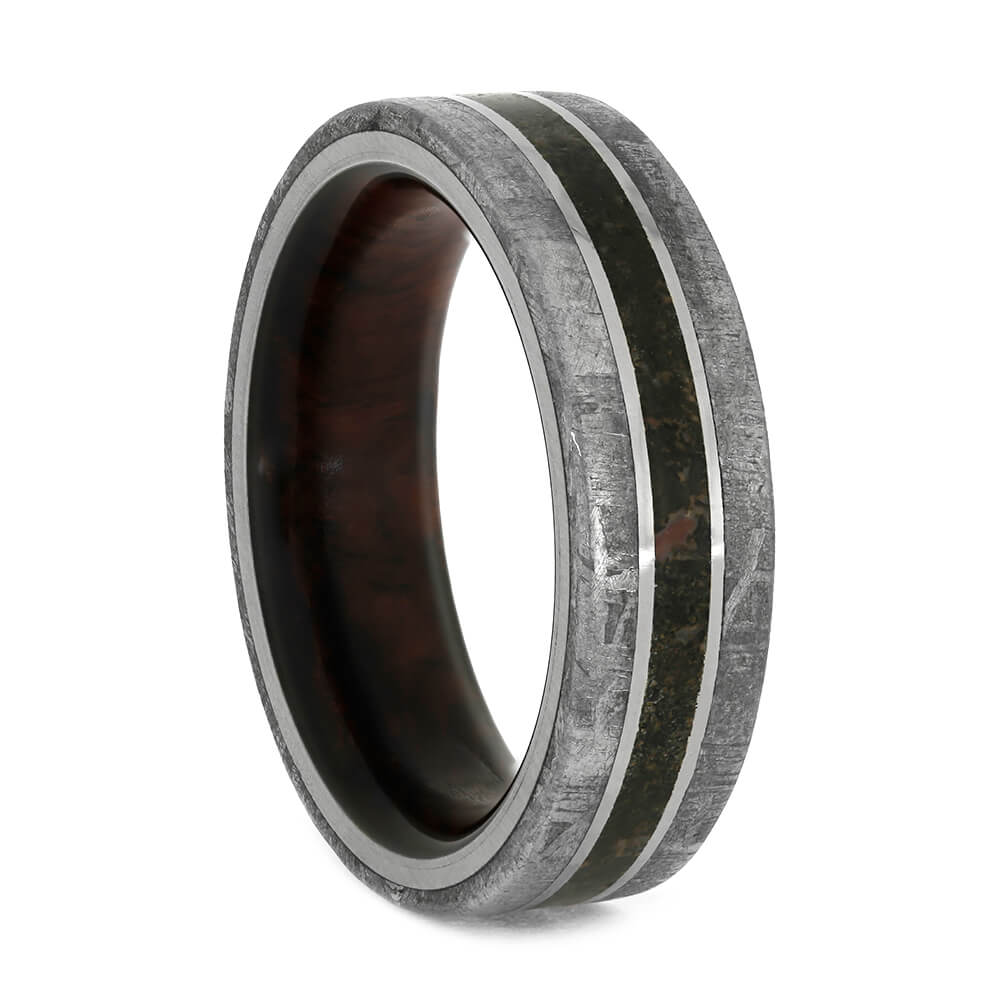 Wood Sleeve Ring with Meteorite and Dinosaur Bone