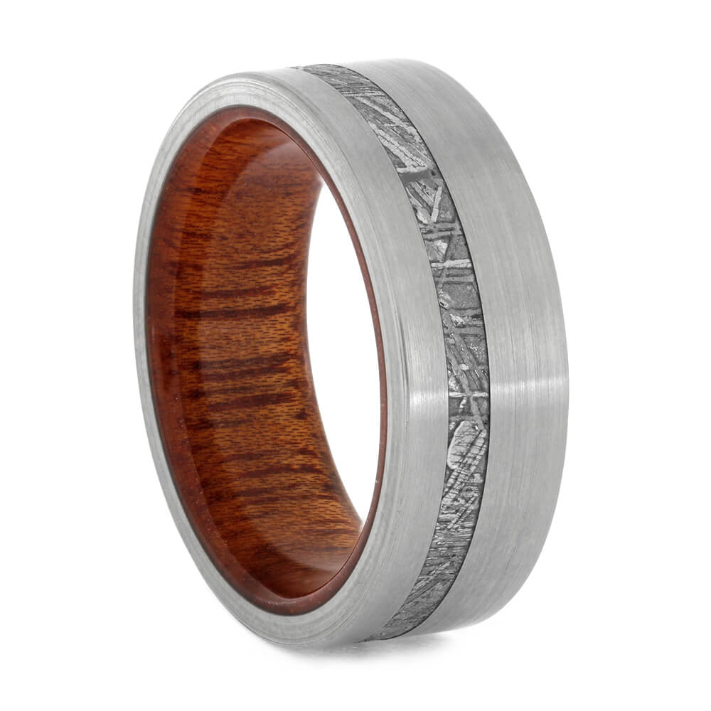 Meteorite And Brushed Titanium Ring With Wood Inside, Size 9.25-RS10833 - Jewelry by Johan