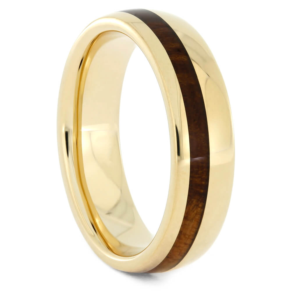 Yellow Gold Wedding Band with Cherry Wood Inlay