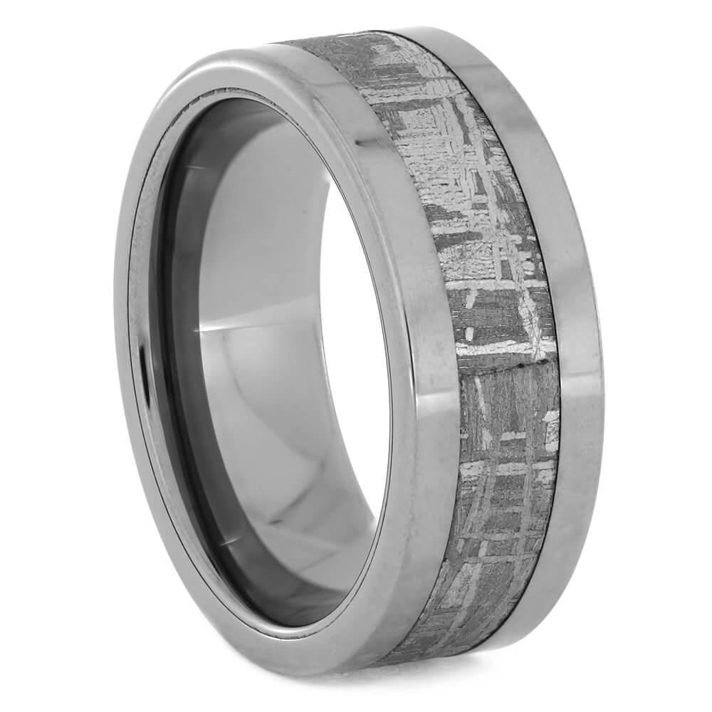 Simple Meteorite Ring With Tungsten Band, Size 7.5-RS10844 - Jewelry by Johan