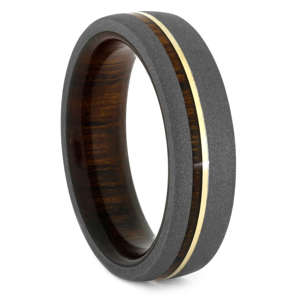 Ironwood Wedding Band with Sandblasted Titanium Edges