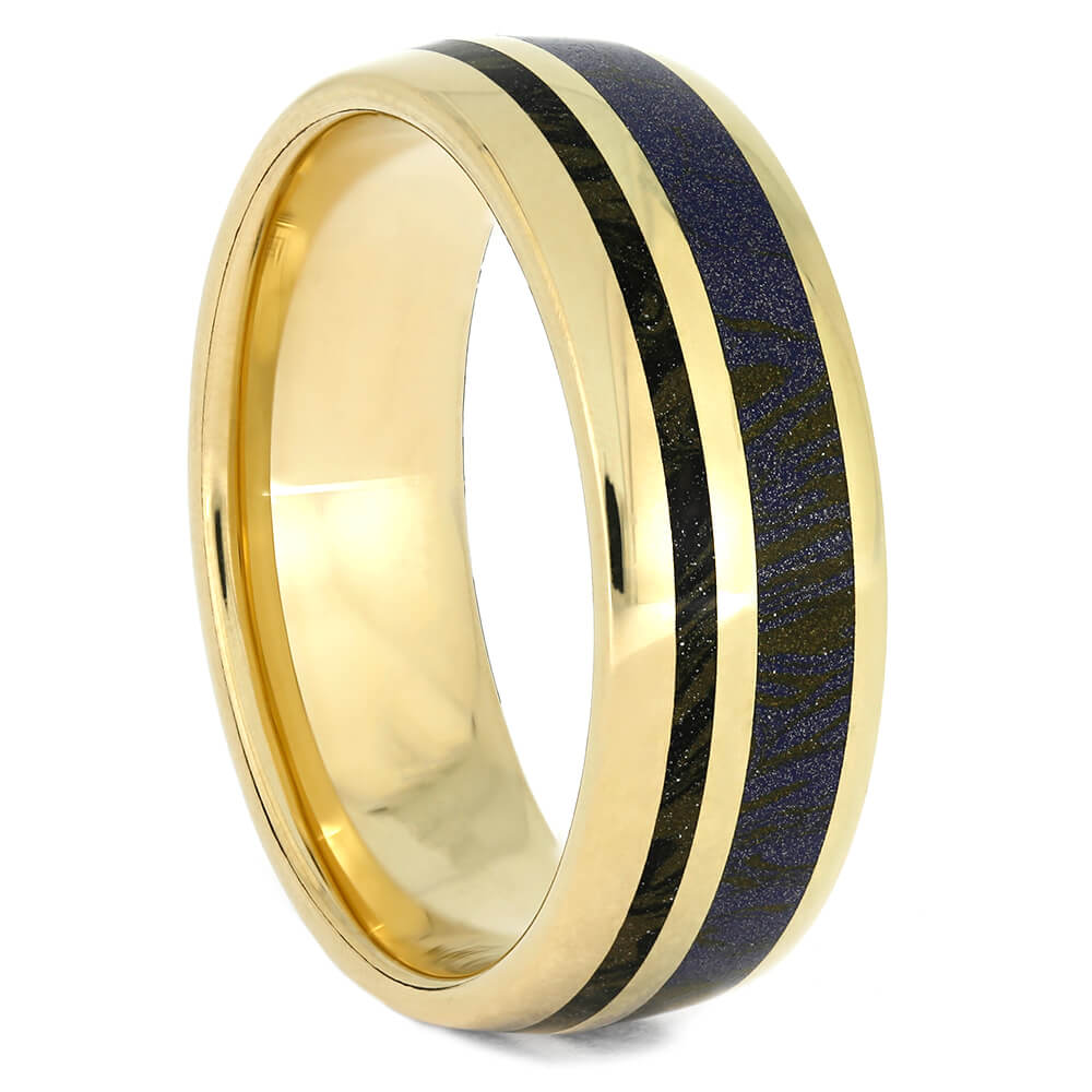 Unique Yellow Gold Men's Wedding Band With Mokume Gane, Size 9-RS10846 - Jewelry by Johan