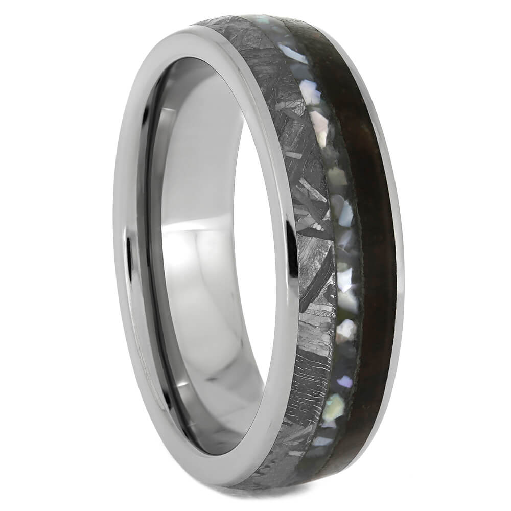 Pearl Wedding Ring With Meteorite And Dinosaur Bone, Size 10.75-RS10850 - Jewelry by Johan