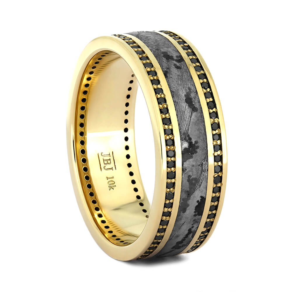 Yellow Gold Eternity Band With Meteorite And Black Diamonds-3784 - Jewelry by Johan