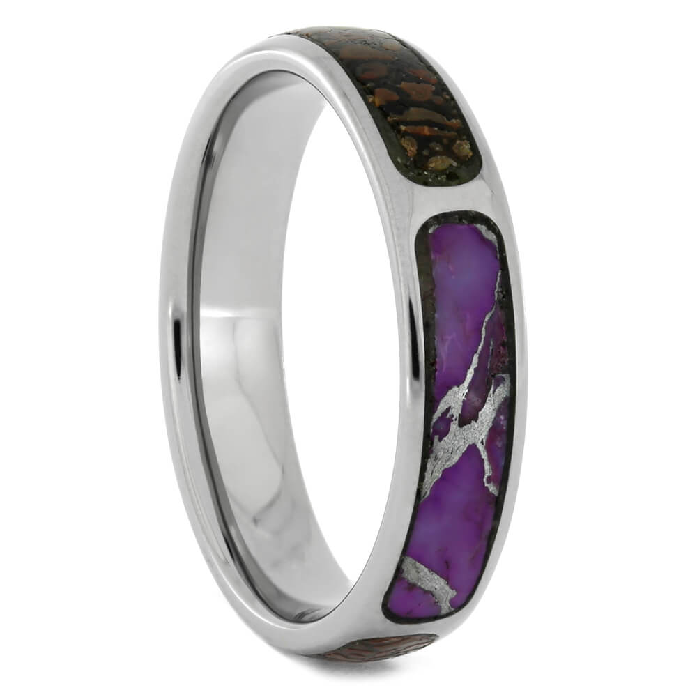 Meteorite, Turquoise, And Dinosaur Bone Women's Wedding Band, Size 5.5-RS10859 - Jewelry by Johan