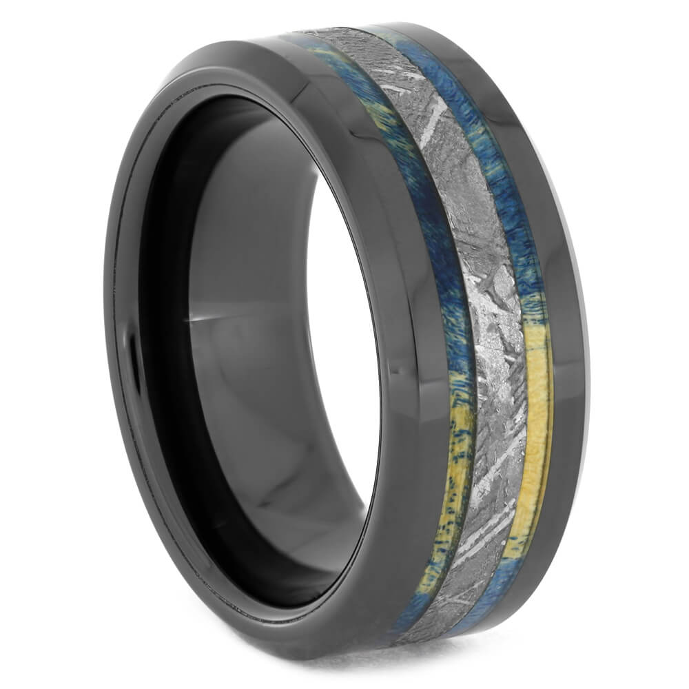 Blue Wood Ring With Meteorite And Black Ceramic, Size 6.5-RS10860 - Jewelry by Johan