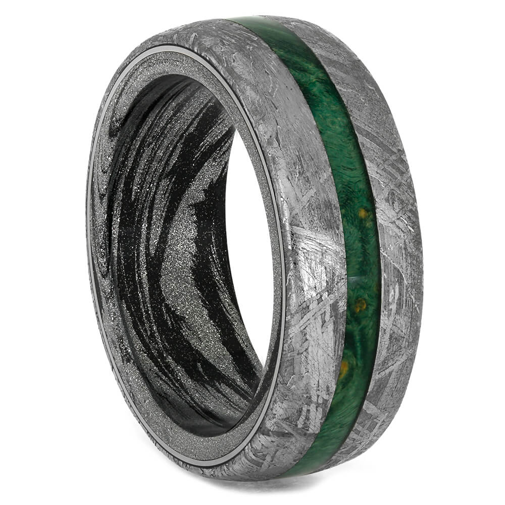 Meteorite Wedding Band with Green Burl Wood Center