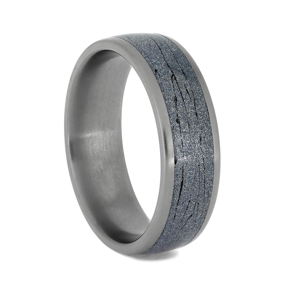 Blue Mokume Men's Wedding Band With Titanium Edges, Size 11-RS10865 - Jewelry by Johan