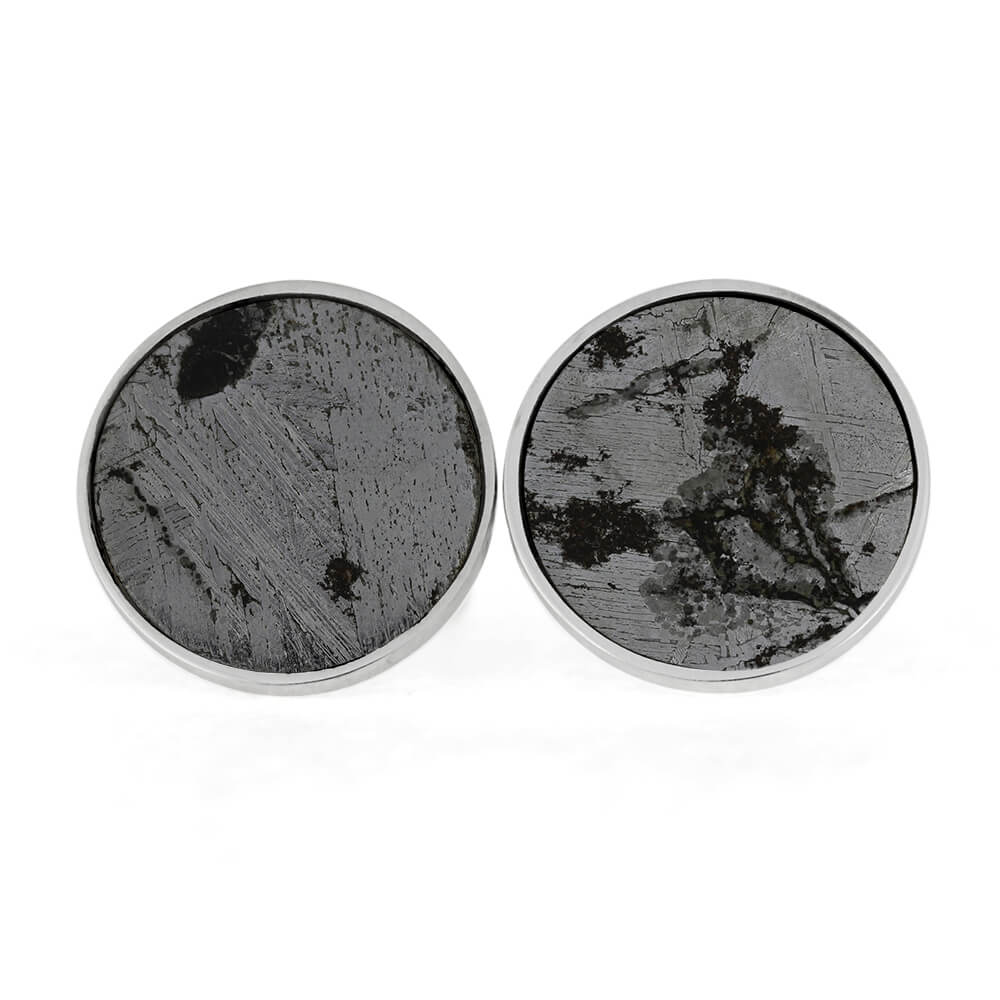 Meteorite Cuff Links in Sterling Silver with Unique Heart-Shaped Troilite-RS10867
