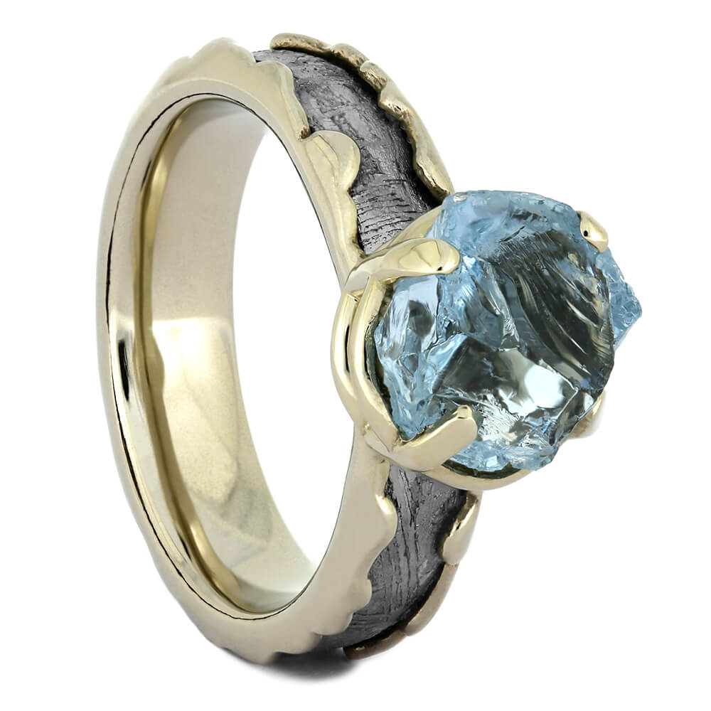 Rough Aquamarine and Meteorite Engagement Ring in White Gold, Size 4-RS10869 - Jewelry by Johan