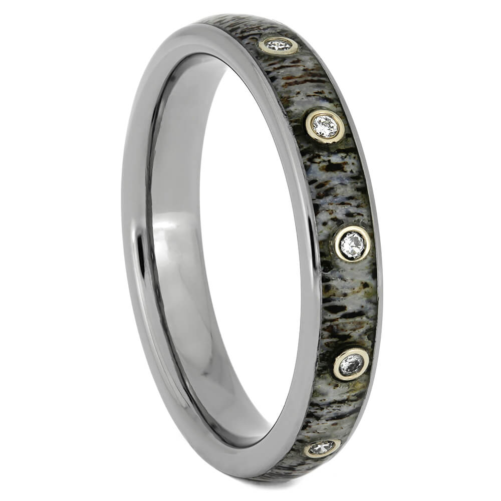 Thin Diamond Wedding Band With Deer Antler, Size 9-RS10873 - Jewelry by Johan