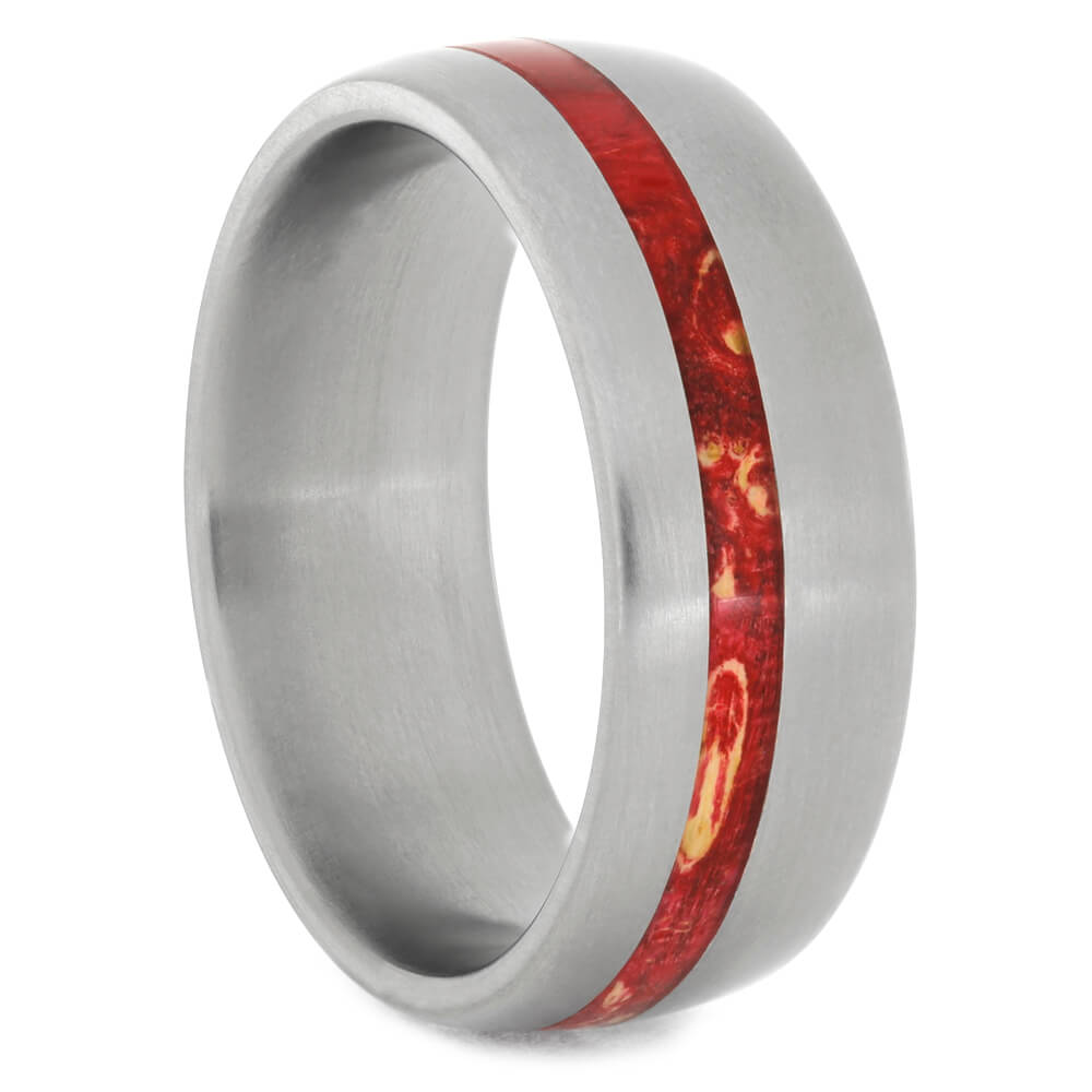 Matte Titanium Wedding Band with Red Burl Wood