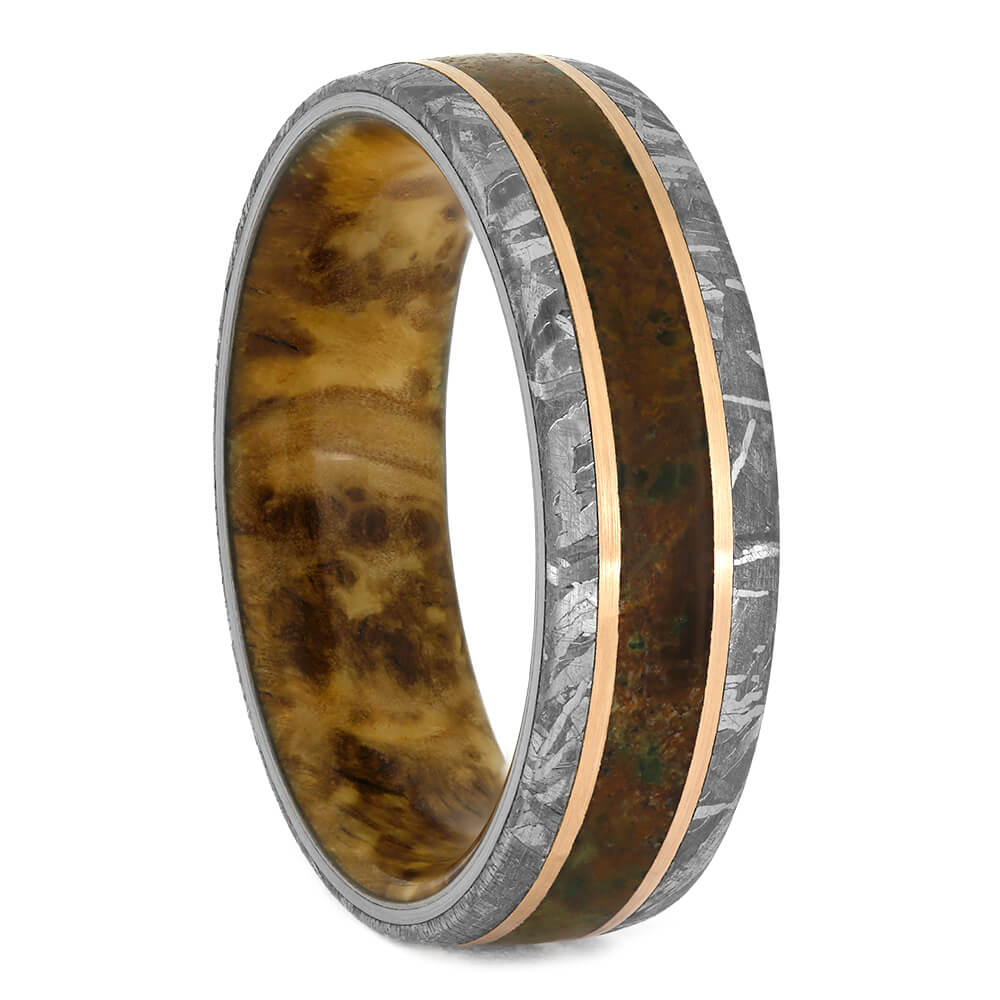 Meteorite And Dinosaur Bone Ring With Wood Sleeve, Size 12.25-RS10877 - Jewelry by Johan