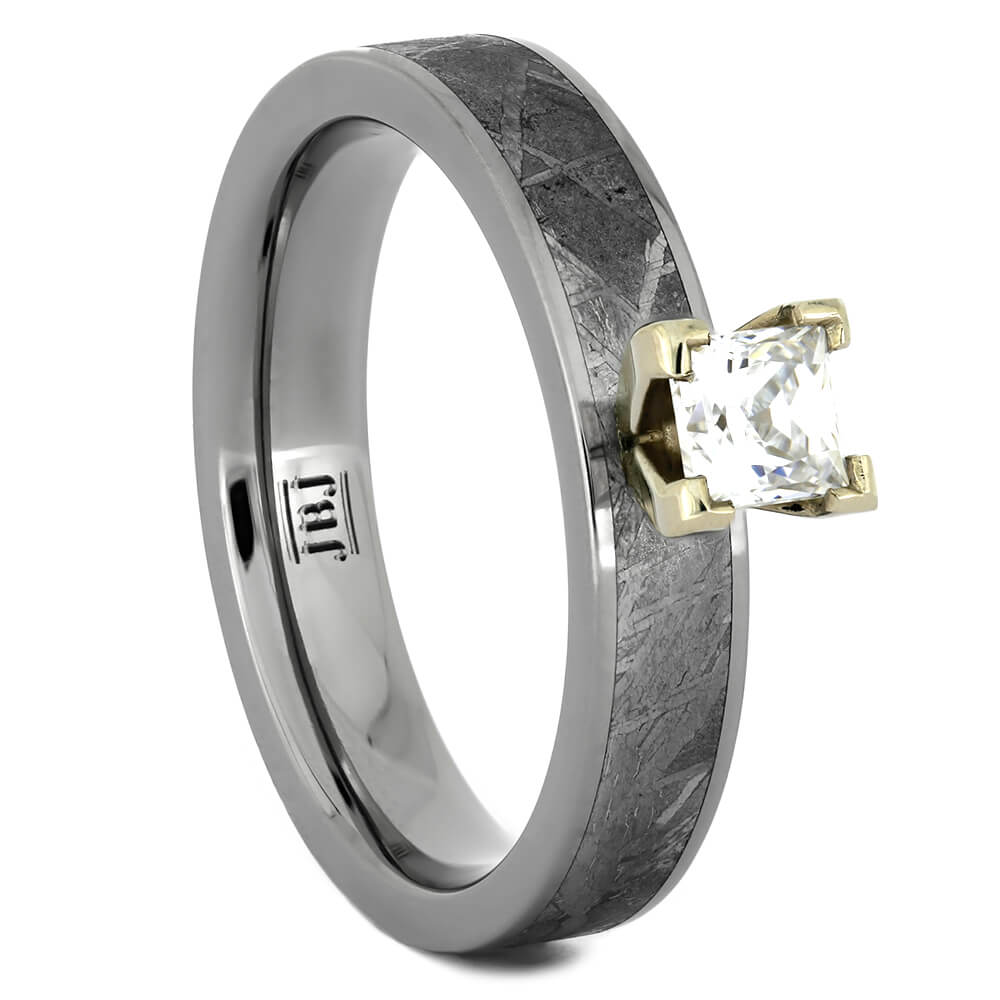 Princess Diamond Engagement Ring with Meteorite Inlay