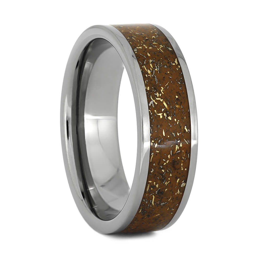 Orange Stardust™ Wedding Band With Titanium And Yellow Gold, Size 10-RS10888 - Jewelry by Johan