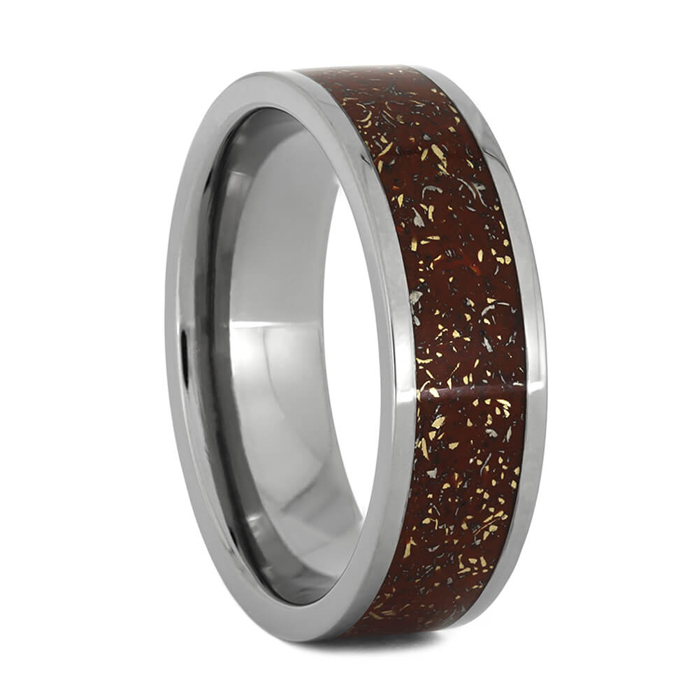 Red Stardust™ Wedding Band with Yellow Gold, Size 10-RS10889 - Jewelry by Johan