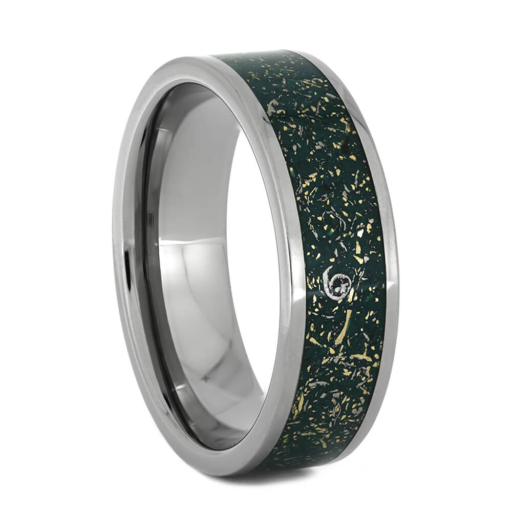 Green Stardust™ Ring With Titanium And Yellow Gold, Size 10-RS10890 - Jewelry by Johan