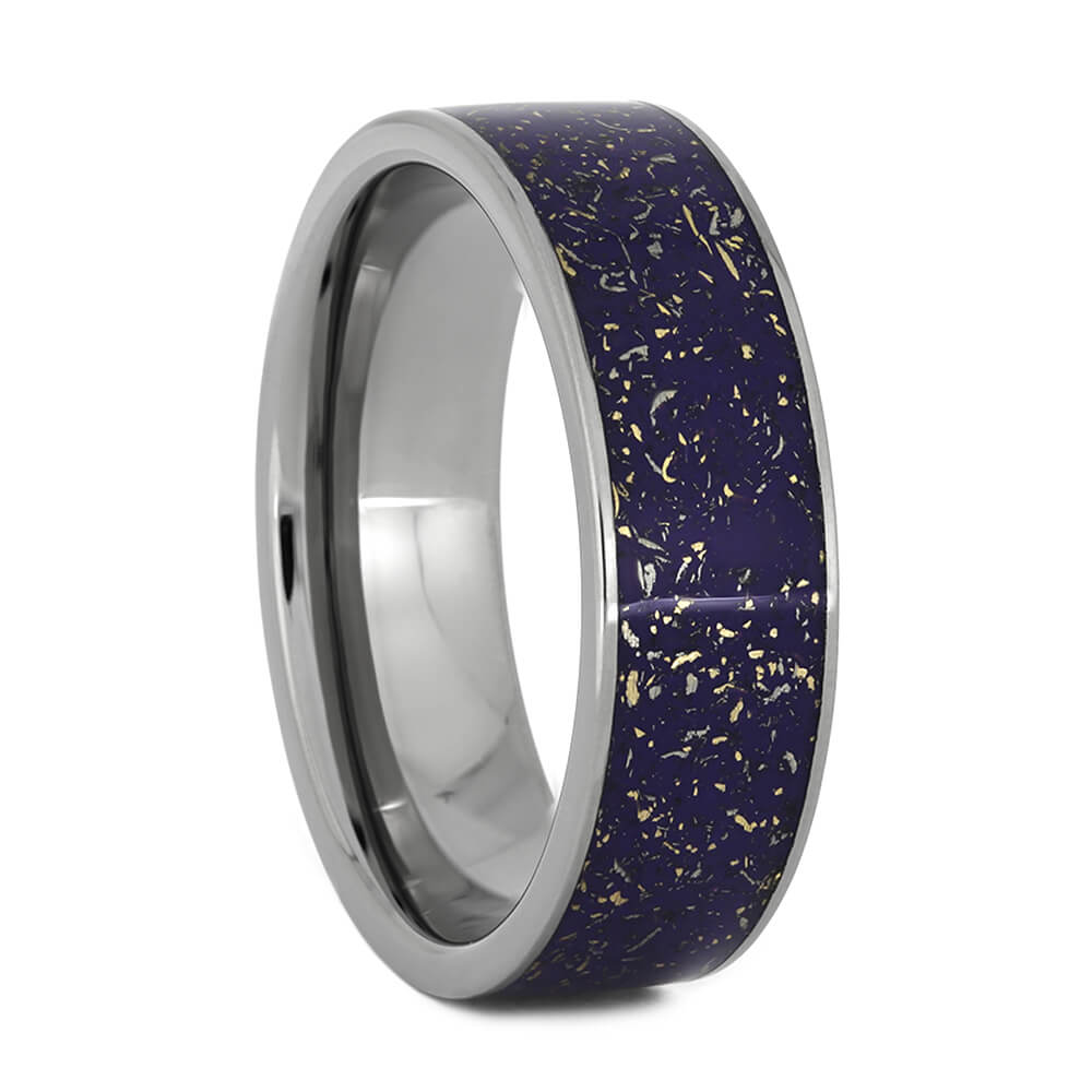 Violet Stardust™ Wedding Ring With Titanium Edges, Size 10-RS10891 - Jewelry by Johan