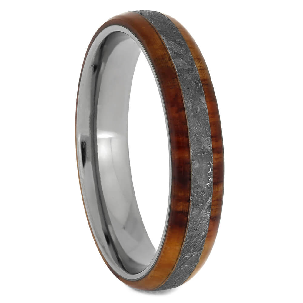 Thin Meteorite Ring with Tulipwood Edges