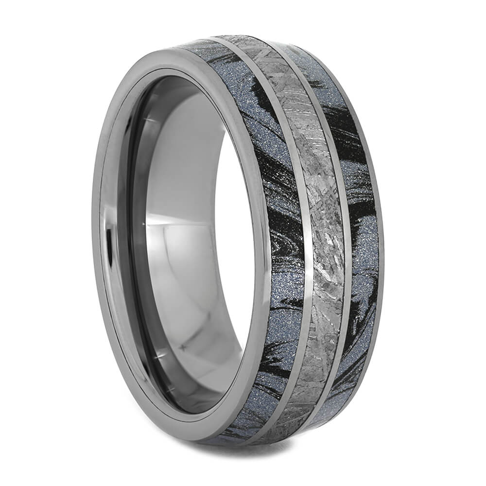 Men's Wedding Band with Meteorite and Mokume