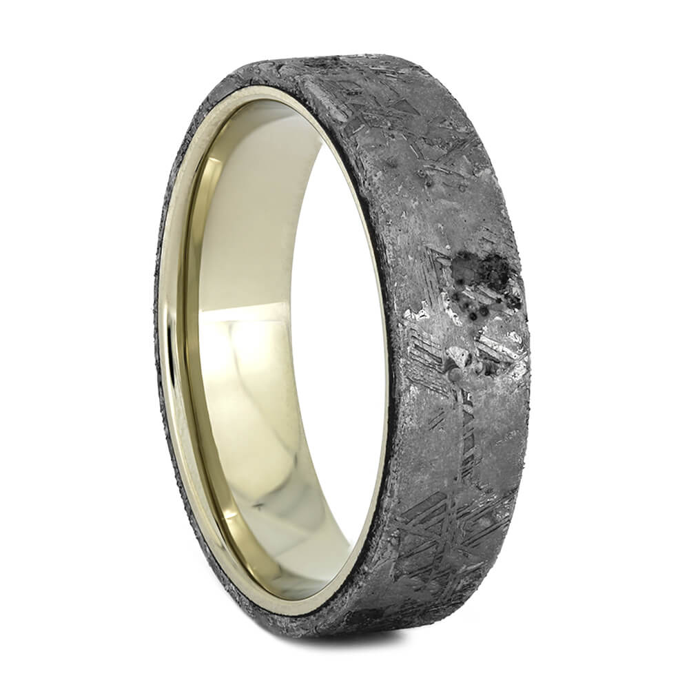 Meteorite Wedding Band with White Gold Sleeve, Size 10.5-RS10906 - Jewelry by Johan