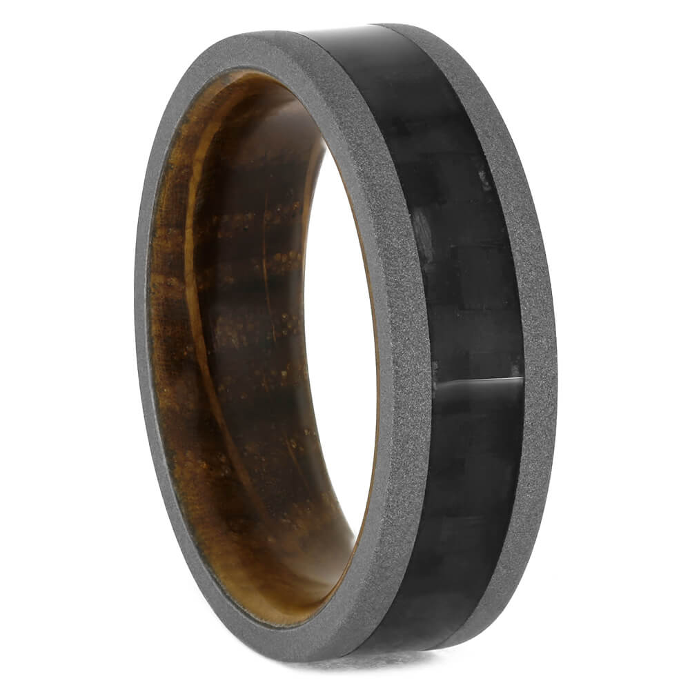 Carbon Fiber Wedding Band with Whiskey Barrel Sleeve