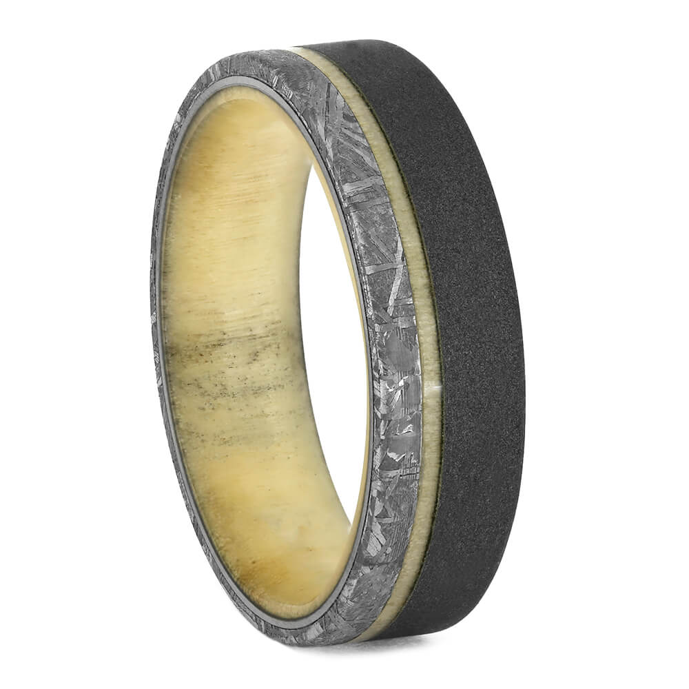 Aspen Wood Men's Wedding Band With Meteorite In Titanium, Size 12.25-RS10923 - Jewelry by Johan