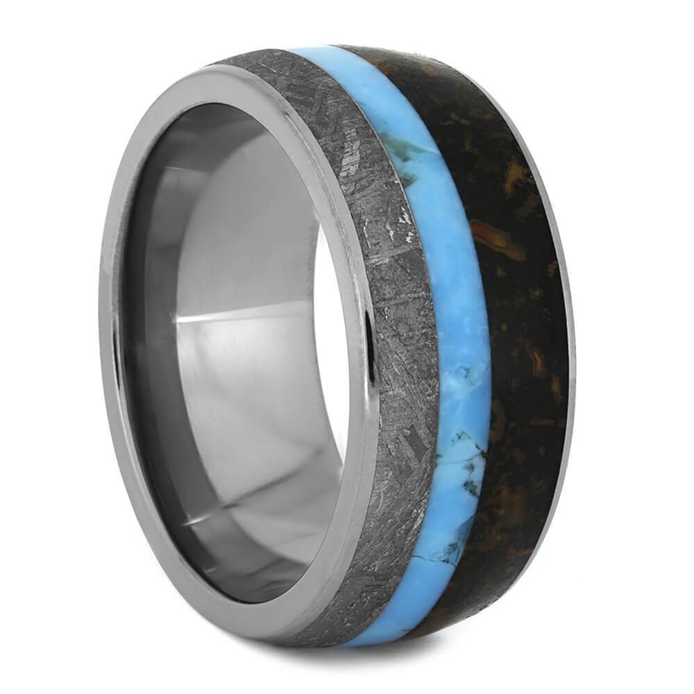 Dinosaur Bone Ring with Gibeon Meteorite and Turquoise, Size 10-RS10929 - Jewelry by Johan