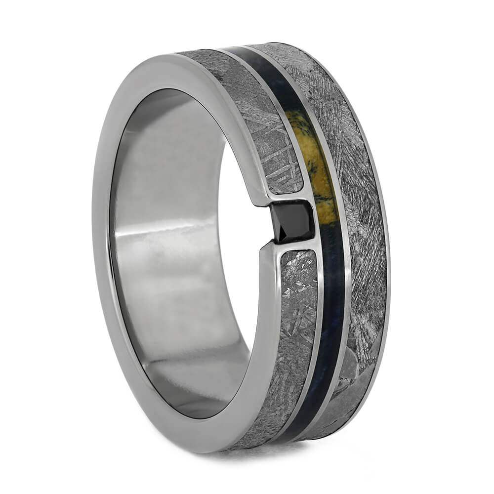 Black Diamond Meteorite Ring With Seymchan And Gibeon Meteorite, Size 11.5-RS10930 - Jewelry by Johan