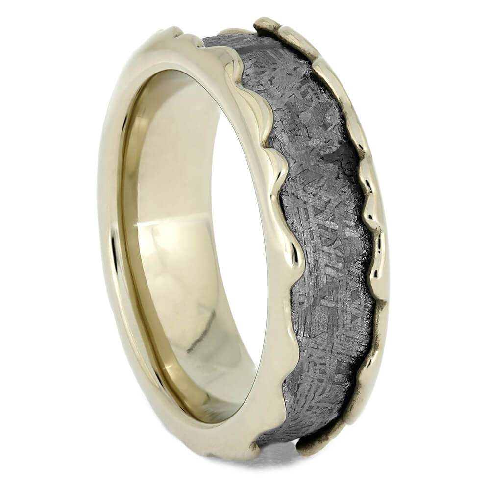 Wavy White Gold Wedding Band with Meteorite Inlay