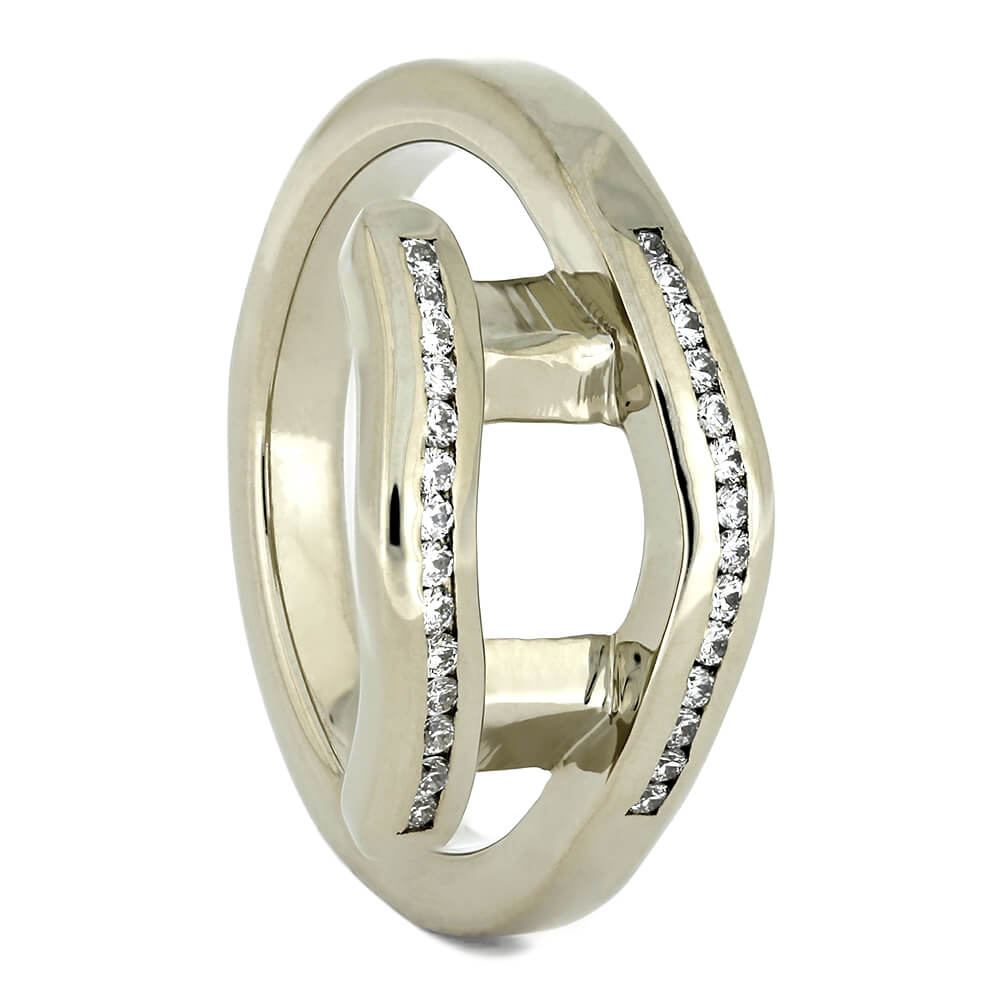 White Gold Ring Guard with Diamond Accents, Size 5-RS10932 - Jewelry by Johan