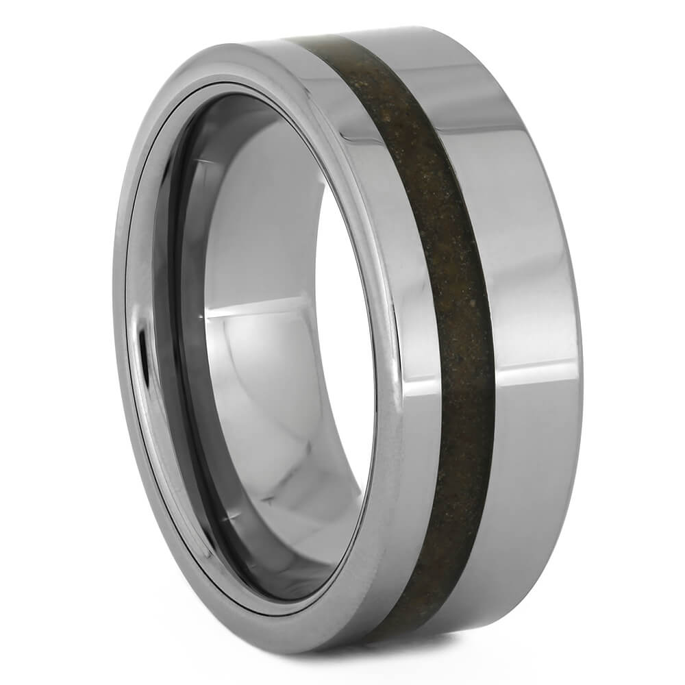 Tungsten Wedding Band with Crushed Dinosaur Bone