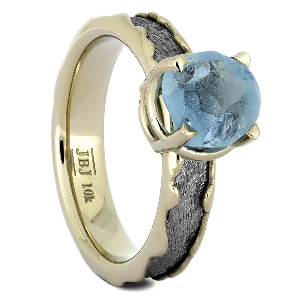 Meteorite and Rough Aquamarine Engagement Ring in White Gold, Size 6.75-RS10935 - Jewelry by Johan