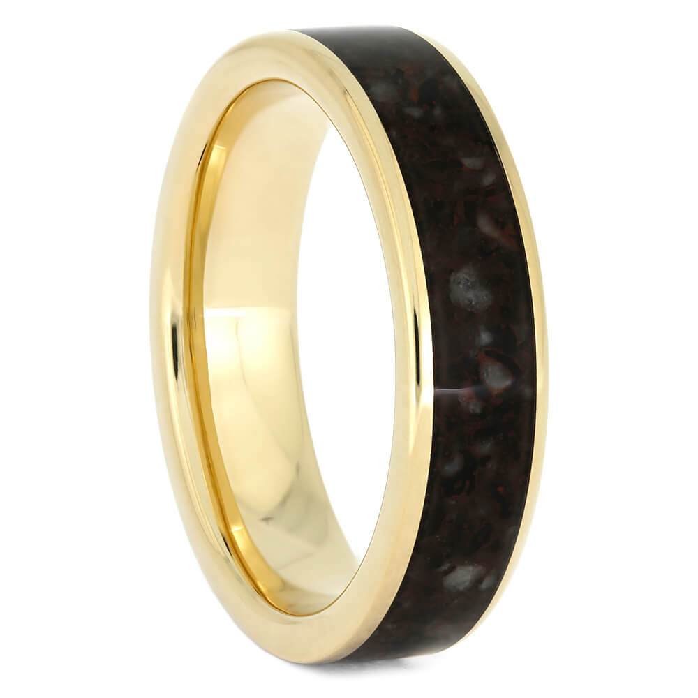 Women's Yellow Gold Wedding Band with Crushed Dinosaur Bone