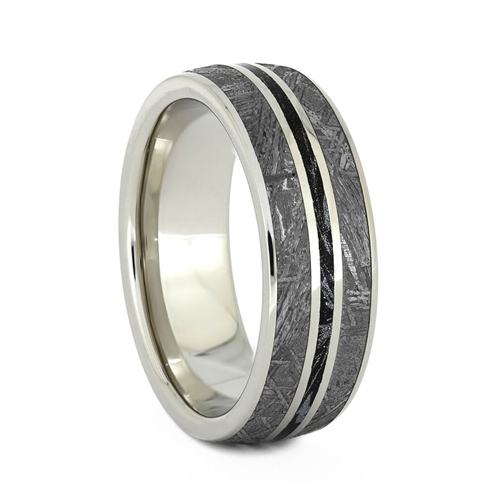 Mokume Wedding Band with Gibeon Meteorite, Size 8.25-RS10938 - Jewelry by Johan