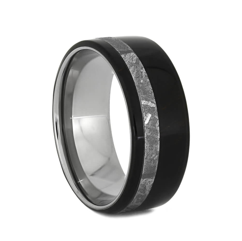 Men's Rosewood Wedding Band with Gibeon Meteorite, Size 8.25-RS10939 - Jewelry by Johan